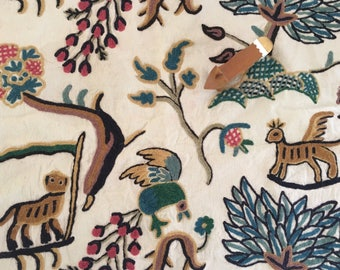Pair of Fantastical Mythical Animals/Beasts Mid Century Crewel Work Fabric