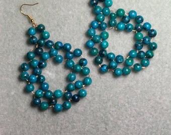 blueish deep green drop earrings