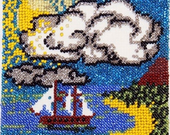 Beadwork Handmade Embroidery/ Tropical Island/ Embroidery Picture/ Wall decor/ Gift for her
