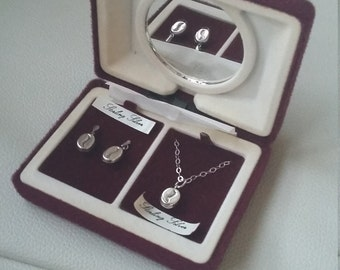 Sterling silver coffee beans necklace & earrings