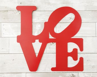 Love Sign - Love Park - Red Home Decor - Red Kitchen Decor - Love Metal Sign