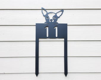 Dog House Number Sign - Chihuahua - Metal House Number Sign