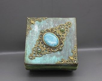 Handmade vintage style gift or keepsake box ,distressed green and bronze