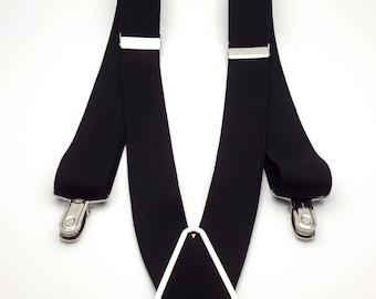 Vintage Men's Suspenders Made in Germany CAS Black Elastic and Silver Tone Metal Braces