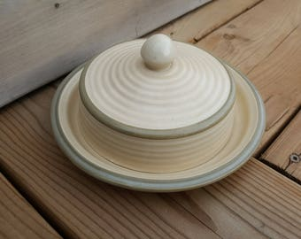 Round Vintage Butter Dish Stoneware by Laurentienne Made in Canada from the 70s Covered Cover Ceramic