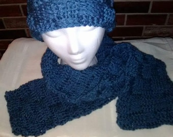 Basket weave pattern hat and scarf