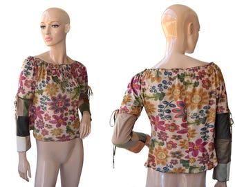Vintage Enita ® N. Collection women top blouse flowers beige