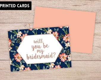 Will You Be My Bridesmaid Card, Will You be My Bridesmaid, Bridesmaid Card, navy floral