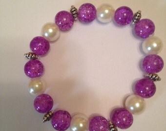 Purple and Ivory Pearl Beaded Bracelet.