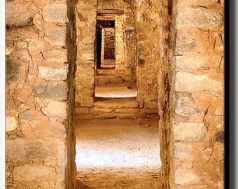 Ancestral Puebloan ancient room structure with stone walls and multiple doors at Aztec ruins in New Mexico.  Gallery wrap canvas photography