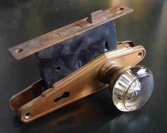 antique art deco complete door knob set with glass knobs and brass plates / vintage salvaged door hardware set