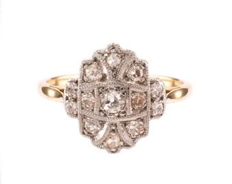 Art Deco Diamond Cluster Engagement Ring. Circa 1930-40's
