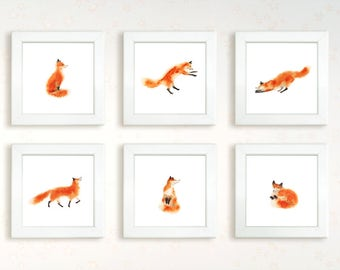 6 watercolor hand painting fanny fox set. Instant download printable high resolution jpg. Sitting, sleeping, jumping foxy. Wall decor art.