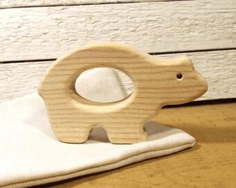 Montessori toy Bear Teether. Eco Friendly Teething toy. Natural Baby Toy. Natural Teething Toy. Infant Toy. Christmas gift. Newborn gift