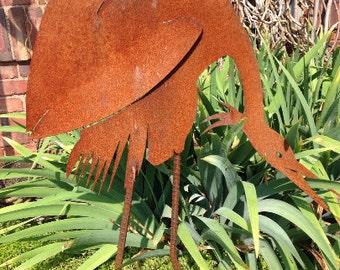 Blue Heron 2 Metal Yard Art Garden Outdoor Patio Sculpture
