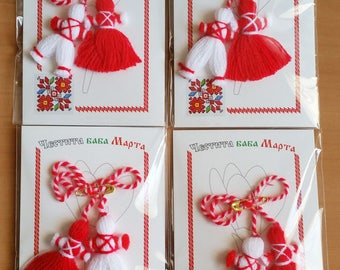 "4 pcs Bulgarian HANDMADE MARTENITSA ""welcome spring"" decoration - Pijo and Penda"