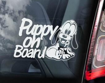 Puppy On Board - Car Window Sticker - Pluto Cartoon Dog Sign Decal - V01