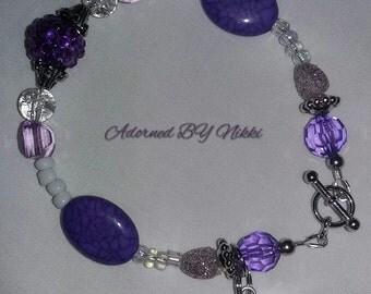 Purple & white Beaded Bracelet