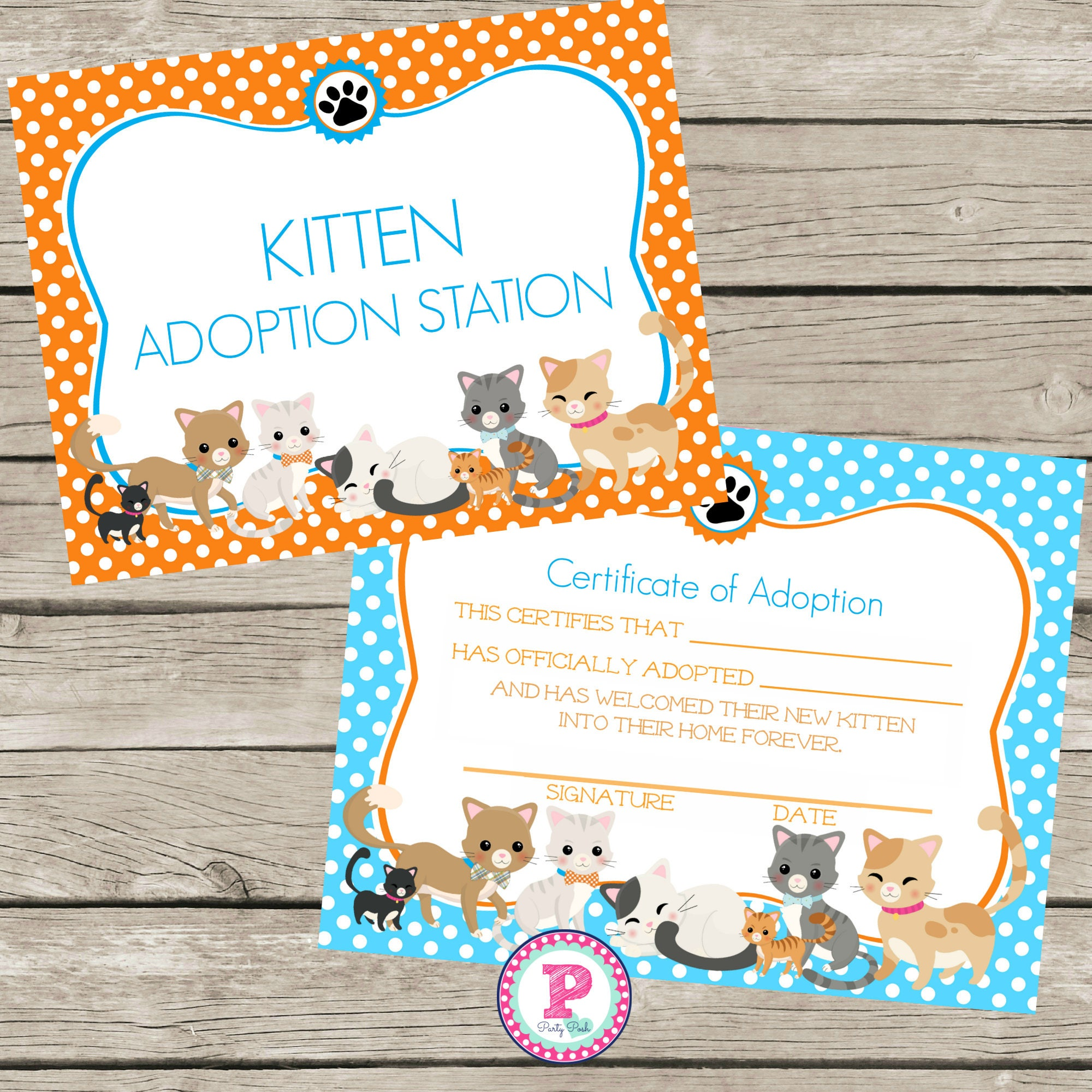 Kitten adoption certificate birthday party polka dot kitten this is a digital file xflitez Gallery