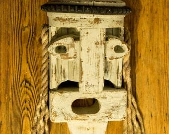 Folk Art Head - Wood/Rope/Rubber