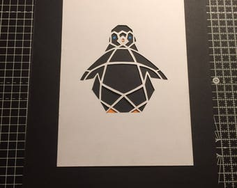 Geometric penguin papercut