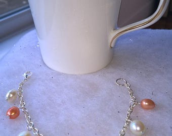 silver plated pearl charm bracelet pearl charm bracelet charm bracelet silver plated bracelet