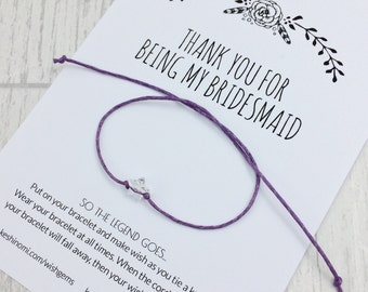 wish bracelet, Bridesmaid gift, thank you gift, wedding jewellery, bridesmaid bracelet, bridesmaid favors