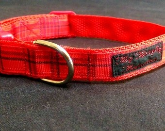 Smart Red Girls or BoysTartan Collar With a Matching Red Buckle. Handmade to Order in the UK