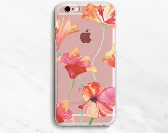 Clear Poppies iPhone 6 Plus Case iPhone 7 Case iPhone 6 Plus Case Clear iPhone 6 Case iPhone 7 Case Clear Clear Phone Case iPhone SE Case
