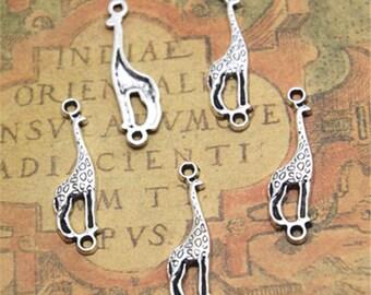 40pcs Giraffe Charms silver tone Animal Charm Pendants,Giraffe connectors 30x8mm ASD1941