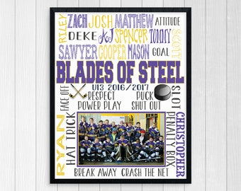 ICE HOCKEY COACH Gift ~ Hockey Team Gift ~ Custom Printable Hockey Team Coach Gift ~ Ice Hockey Print ~ Custom Hockey Gift ~ Team Photo Gift