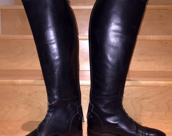 "22"" Tall  Top Field Style  Square Toe Riding Boots  Rear Zip with Snap Closure by Top Argentinian Bootmakers ""La Casa De Las Botas"""