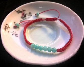 Lucky Chinese Red String Bracelet with 8 Natural Amazonite Beads