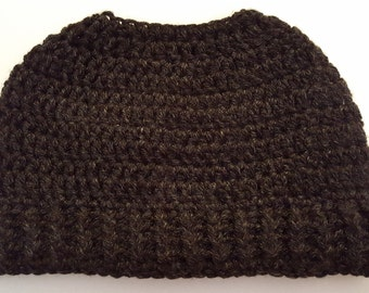 Charcoal Gray Messy Bun Hat ((READY TO SHIP))