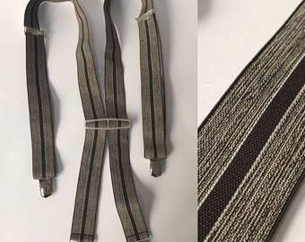 1970s Vintage Gray Brown Stripes Braces, Autumn Stripes, Stretch Button Clip On Suspenders, Great Condition Gift for Him, Vintage Wedding