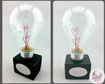 Heart Light Bulb | Heart Bulb | Valentine Bulb | Valentine's Day | Wedding | Anniversary | B-day | girlfriend | boyfriend | custom engraved