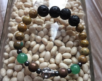 "Natural Stone Bracelet ""Learn from the Past""  (Aventurine, Hematite, Veridite, Lava Rocks)"