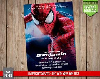 SPIDERMAN Invitation - Spiderman superhero Invite, Editable Text PDF Birthday Superheros Invitation, Instant Download