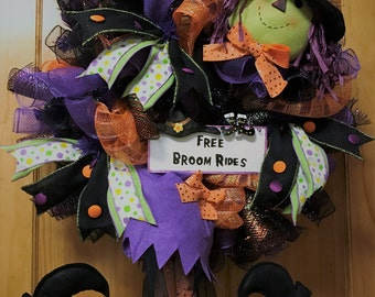 Free Broom Rides Witch Deco Mesh Wreath