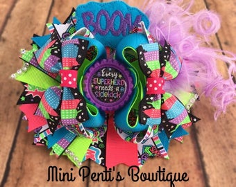 Bright/Colorful 5.5 inch Over the Top Super Hero Girls Boutique Style Hair Bow.