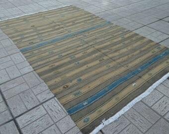 Vintage kilim rug. Turkish kilim rug. Vintage rug. Vintage kilims. Free shipping. 7.3 x 4.4 feet.