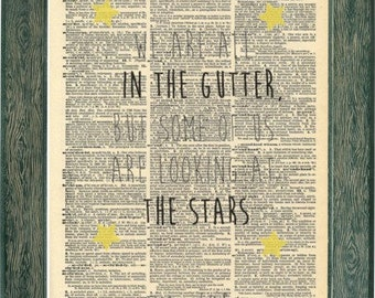 Oscar Wilde Quotes Print. Look to the Stars. Oscar wilde poster. Author quote Vintage Prints