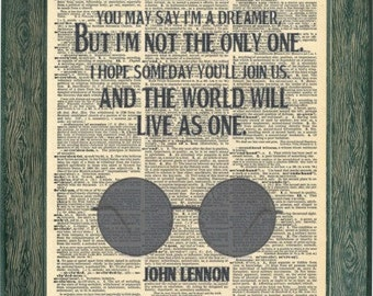 John Lennon Imagine quotes Lyrics. John Lennon glasses art print. Vintage print.