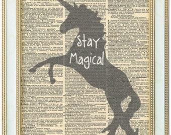 Magical unicorns Silhouette print. Be Magical unicorn art print. Funny unicorn gift. Unicorn lover gift. Vintage print