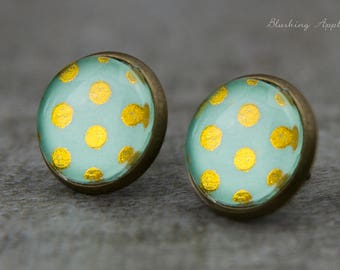 Ear plugs - 12 mm - Mint color with Golden dots / / mininmalistisch, polka dots