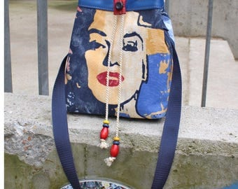 Match bag, everyday bag MARILYN I, synthetic leather, cotton mixed fabric