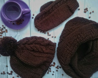 Knitted Hat, mittens and scarf