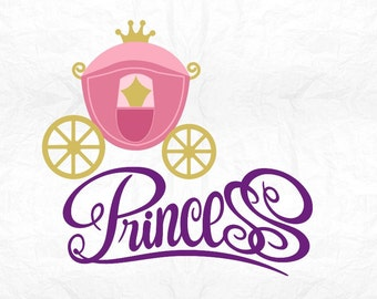 Princess carriage SVG Clipart Cut Files Silhouette Cameo Svg for Cricut and Vinyl File cutting Digital cuts file DXF Png Pdf Eps vector