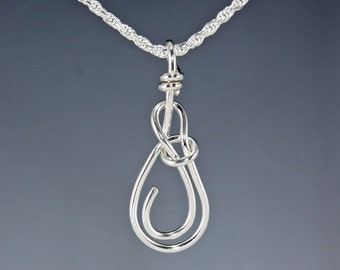 Sterling Silver Bowline Nautical Knot Pendant