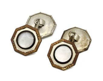 Octagonal Mens Cufflinks, Antique 1920s Mens Jewelry, Mother Of Pearl, Art Deco Cuff Links, Silver & MOP Nacre, Victorian Shell Cufflinks